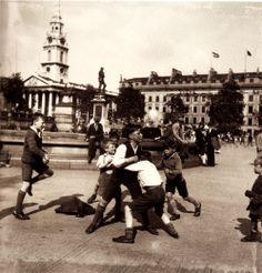 I wonder how easy a photograph like this would be to take today. It's in a popular London location often 'guarded' and it's of young children playing.  ~Hans Casparius - Trafalgar Square 1970s