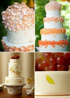 i love the painted details on the bottom cake and the beautiful graduated petals on the top cake