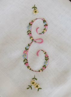 Embroidered monogram E