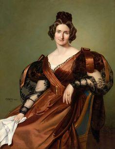Retrato de una dama con vestido elegante, August Alexius Canzi (1835)