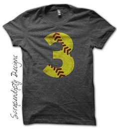 Softball Number Iron on Transfer - Iron on Custom Softball Shirt / Softball Mom Tshirt / Toddler Sports Clothes / Kids Girls Tee by ScrapendipityDesigns