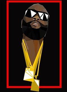 Rick Ross Sip N Paint, Beard Game, Rapper Quotes, Horror Artwork, Famous Names, Rick Ross, Black Art, Hiphop, Evolution