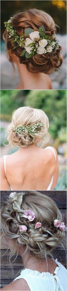#weddinghairstyle #weddinghair #bohowedding #weddingideas #weddinginspiration updo wedding hairstyle with white and greenery floral