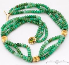 Antique-Vintage-1940-Deco-18k-Gold-Peridot-Jade-Disc-Bead-3-Strand-Necklace