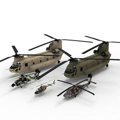 3d models Collection of 4 Australian Army helicopters Kiowa CH-47 S70a-9 Tiger