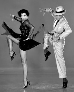 """Fred Astaire & Cyd Charisse. """"I have no desire to prove anything by dancing. I have never used it as an outlet or a means of expressing myself. I just dance. I just put my feet in the air and move them around."""" (Astaire) . . .""""Fred moved like glass. Physically it was easy to dance with him. It was not as demanding on me."""" (Charisse) Charisse and Fred Astaire."""