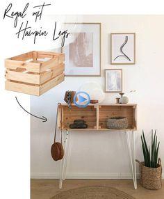 IKEA Hack – Regal mit Hairpin Legs selber bauen – WOHNKLAMOTTE Build Your Own Shelves, Diy Regal, Diy Casa, Ikea Hacks, Diy Hacks, Hair Pins, Home Furnishings, Home Furniture, Furniture Ideas