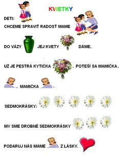 Kliknutím zavřít Rhymes For Kids, Special Needs, Preschool Activities, Paper Flowers, Diy And Crafts, Poems, Therapy, Language, Education