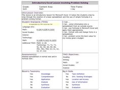 Introductory Excel Lesson involving Problem Solving Lesson Plan | Lesson Planet