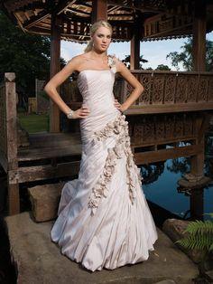 Taffeta Softly Curved Neckline Crinkle Bodice Mermaid Wedding Dress