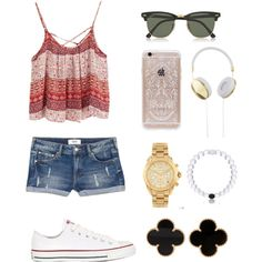 Cute outfit by ktanner02 on Polyvore featuring polyvore, fashion, style, MANGO, Converse, Van Cleef & Arpels, Michael Kors, Ray-Ban, Rifle Paper Co and Frends