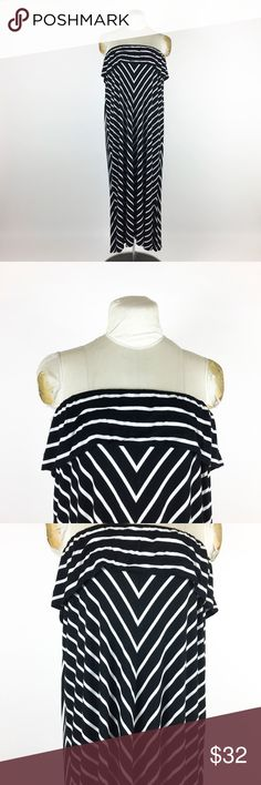 """CALVIN KLEIN Black Striped Knit Dress Plus Sz 1X CALVIN KLEIN Black Striped Knit Dress Plus Sz 1X Strapless Ruffle Maxi   Measurements taken when lying flat:  Bust- Pit to Pit- Doubled- 36"""" Has elastic, stretches to about 46"""" if needed  Waist-Doubled- 58""""  Hip-Doubled- 58""""  Length (Bust to bottom hem)- 48""""  Gently worn, no holes, tears, or stains.  Please check your measurements before purchasing! Calvin Klein Dresses Strapless"""