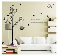 OneHouse Tall Black Tree with Birds and Birdcage Love's Secret Quote Wall Decal Sticker Decor OneHouse