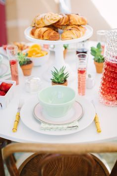 weekend brunch // croissants and pastries // succulents // breakfast skewers // pink cocktail // @BHLDN Weddings pitcher and cake stand // Stoffer Photography for The Everygirl