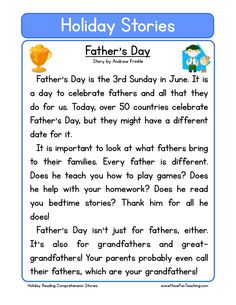 This Reading Comprehension Worksheet - Father& Day is for teaching reading comprehension. Use this reading comprehension story to teach reading comprehension. First Grade Reading Comprehension, Reading Comprehension Worksheets, Third Grade Reading, Reading Fluency, Reading Passages, Teaching Reading, Teaching Math, English Stories For Kids, Learn English Words
