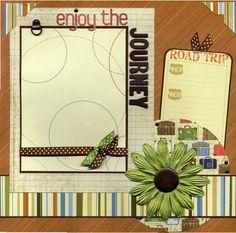12x12 Premade Scrapbook Page - Enjoy The Journey | SusansScrapbookShack - Paper/Books on ArtFire