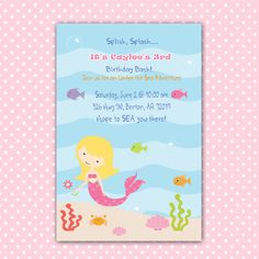 Mermaid Birthday Invitation Girl - Under The Sea Birthday Party Invitation Girl Card Custom Baby Shower 1st 2nd 3rd Printable Personalized