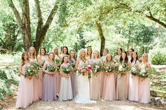 Brittany and Wes // Anna Campbell real bride | Hand-embellished vintage inspired beaded wedding dress with shoulder detail and low back detail | Southern wedding | Bright bridal bouquet | Fitted lace vintage dress | Old Hollywood wedding gown | Pastel bridesmaids | Girl Squad