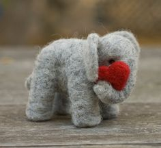Needle Felted Elephant with Heart by scratchcraft on Etsy