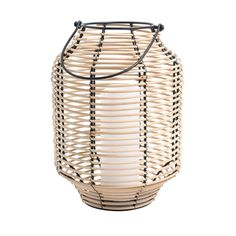 NATURE lantern. 23x32 cm. Rattan and metal lantern. For tealights and pillar candles. Safety precaution! Never leave burning candles unattended.