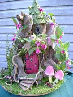 1/12th scale OOAK Driftwood Fuchsia FAIRY HOUSE dollhouse  by J. McLaughlin