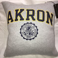 A personal favorite from my Etsy shop https://www.etsy.com/listing/486369165/akron-ohio-university-sweatshirt-pillow
