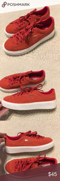 4a38a1b3c87b Puma Barbados Cherry Red Suede Platform Sneakers