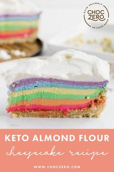 Along with being keto-friendly, low sugar, and low carb, this yummy rainbow cheesecake recipe is made with almond flour. Almond flour desserts. Almond flour recipes. Keto cheesecake recipe. Rainbow recipes. Rainbow desserts. How to make cheesecake. ChocZero creates healthier treats with quality ingredients. Enjoy keto-friendly, sugar-free chocolate and syrup that tastes incredible. Enjoy our low-carb, keto, gluten-free, and sugar-free recipes that use our delicious keto chocolate and syrups. Rainbow Cheesecake, Rainbow Desserts, How To Make Cheesecake, Rainbow Food, Cheesecake Recipes, Dessert Recipes, Almond Flour Desserts, Low Sugar Desserts, Almond Flour Recipes