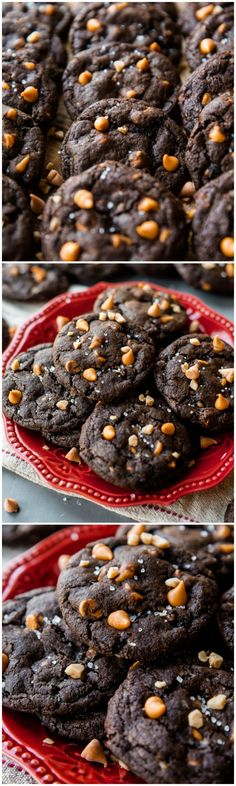Butterscotch, toffee, chocolate, oh my!! Soft and chewy chocolate cookies! Recipe on sallysbakingaddiction.com