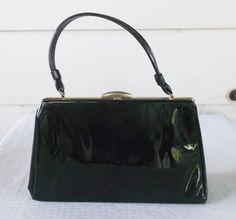 1960s Vintage Black Patent Leather Purse Hand by MyVintageHatShop