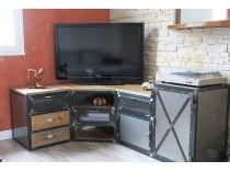 Meuble industriel tv d'angle en acier et pin massif