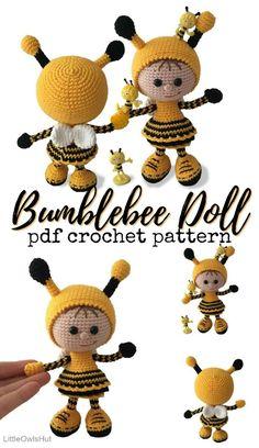 Bee Patterns Love this adorable amigurumi crochet pattern for this bumblebee doll! What a sweet little dress and dont you just adore her shoes? The post Bee Patterns appeared first on Yarn ideas. Crochet Bee, Crochet Doll Pattern, Crochet Toys Patterns, Cute Crochet, Amigurumi Patterns, Amigurumi Doll, Stuffed Toys Patterns, Crochet Dolls, Knitting Patterns