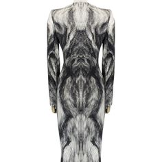 Pre-owned Alexander Mcqueen Artic Fox Fur Print Form Fitting Size It... (13.233.485 IDR) ❤ liked on Polyvore featuring dresses, black white gray, black white dress, white black dress, alexander mcqueen dresses, fox print dress and pre owned dresses