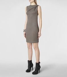 Womens Afina Vi Dress (Khaki) | ALLSAINTS.com