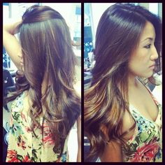 soft brown and Carmel peekaboo's with a long layered haircut.