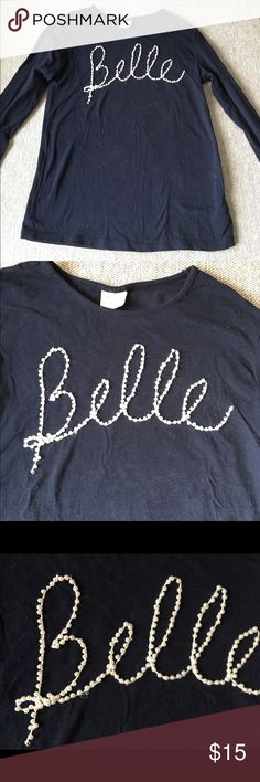 """Zara long sleeve T w/ Pearl beading """"BELLE"""" Lovely Zara navy blue long sleeve, lightweight cotton w/ white Pearl beading of word """"BELLE"""" (beautiful in French). Size 9/10 . Good condition & very much loved 😊 Zara Shirts & Tops"""