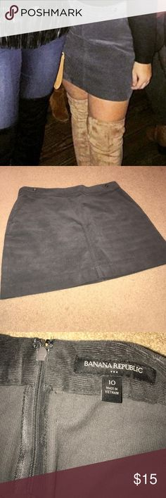 Corduroy skirt Mini skirt in a charcoal gray ! Worn once for a few hours ! Great quality and even better price for the brand ! Fits more like an 8-10 instead of a true 10!  No signs of wear . Banana Republic Skirts Mini