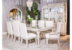 Glimmering Heights by Micheal Amini Dining Room Chair Covers, Dining Room Bench, Dining Room Sets, Dining Room Design, Dining Room Furniture, Dining Room Images, Retro, Kathy Ireland, Room Style