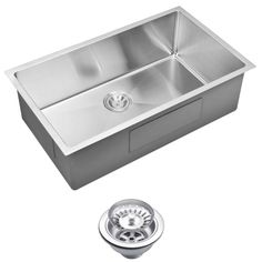 Water Creation Undermount Small Radius Stainless Steel 32x19x10 0-Hole Single Bowl Kitchen Sink with Strainer in Satin Finish-SSS-US-3219B a...