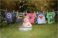 Super Hero Cake Smash, Bath Time Photo Session, bubbles, washtub, Super Hero Laundry Line, Super Hero Photography, first birthday, one year old pics, Holly Davis Photography | The Woodlands, Texas