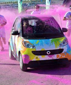 Color Me Rad, smart car :) Car Paint Jobs, Smart Fortwo, Car Colors, Smart Car, Hot Bikes, Cute Cars, Car Painting, Big Love, Car Wrap