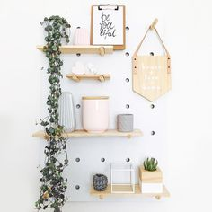 I really like the idea of this pegboard from being able to easily move the shelves around. Do you have one, I'd love to see how you styled it, please tag me! 📷 image found via Decoration Hall, Decoration Bedroom, Wall Decor, Floating Shelves Bedroom, White Floating Shelves, Kmart Peg Board, Deco Dyi, Diy Casa, Home Office Decor