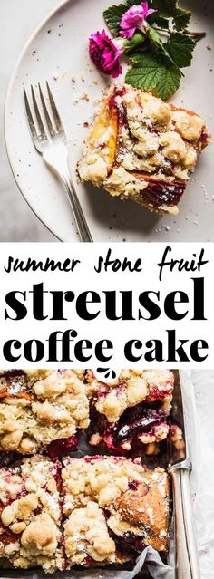 This streusel coffee cake recipe isn't as quick to make as others, but in return it is the best cake ever. Made with almonds, warm spices and yogurt to keep it moist, topped with stone fruit (such as peaches, plums and apricots) and a mega load of an easy crumb topping, you'll be the star of any potluck, backyard barbecue or picnic. If you make it ahead and let it stand overnight, it will taste even better! A simple homemade old fashioned summer treat.
