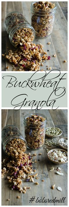 Buckwheat Granola: Not only is this recipe easy to prepare, it's absolutely wonderful with crunchy, sweet granola clusters, chewy fruit, nuts and coconut. The buckwheat really brings something special to this granola. It's an unusual ingredient, has a wonderfully earthy flavor and packs a nutritional punch. // Bob's Red Mill // gluten free