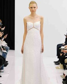 Angel Sanchez Spring 2017 Wedding Dress Collection | Martha Stewart Weddings - Dotted lace gown with illusion neckline and inserts at bust.