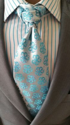 Midgrey blazer, teal floral on white satin tie (exotic knot), teal-striped white dress shirt