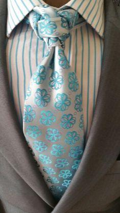 Midgrey blazer, teal floral on white satin tie (exotic knot), teal-striped white dress shirt