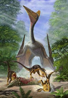 Hatzegopteryx thambema overlooks an unruly group of Balaur bondoc fighting amongst themselves for the carcass of a Struthiosaurus by Sergey Krasovskiy