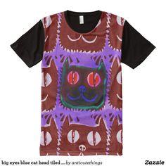 big eyes blue cat head tiled pattern inverse #zazzle #allover #print #tees #tshirt #graphic #design #funny #humor #comics #cartoon #drawing #cool