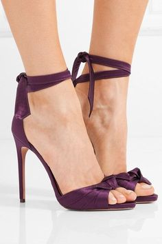 Heel measures approximately 105mm/ 4 inches Grape satin Ties at ankle Designer color: Wine Berry Made in ItalySmall to size. See Size & Fit notes.